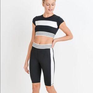 Pants - Highwaist Colorblock Striped Band Active Shorts